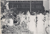 May procession by Sodalists from the Nursing School on the lawn of Georgetown University Hospital