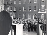 Students gathered on the Georgetown University campus to hear mass for President John F. Kennedy