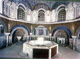 Orthodox Baptistery Interior and Font Neon Baptistery; Cathedral Baptistery