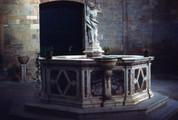 Battistero di San Giovanni, Interior and Baptismal Font, Facing Main Entrance Baptistery of St. John the Baptist, Interior and Baptismal Font, Facing Main Entrance
