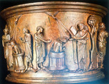 Bronze Baptismal Font, Detail of Baptism of Crato by John, the Beloved Disciple