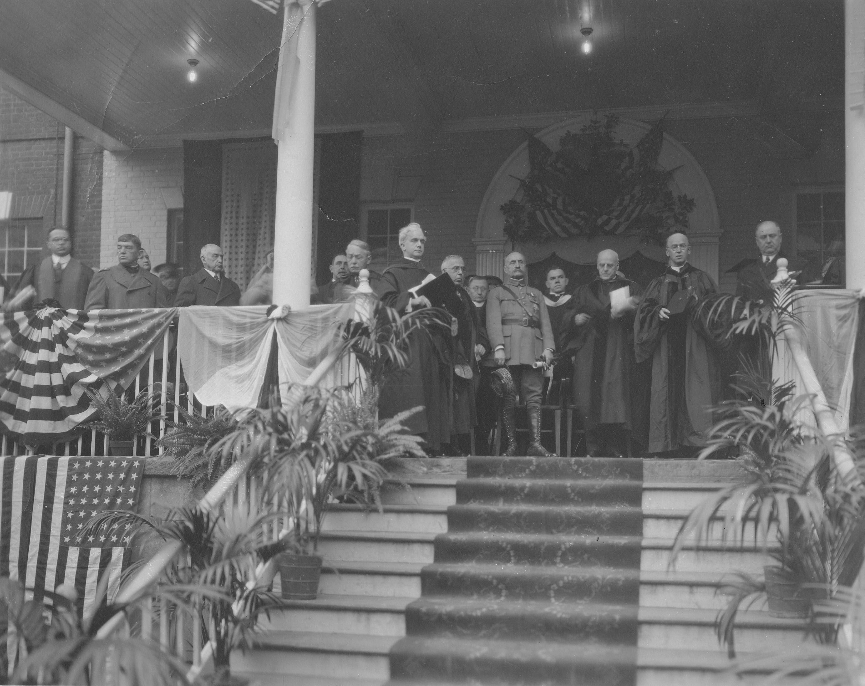 marshal ferdinand foch on the porch of old north at georgetown university
