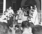 Veneration of the Relic of St. Francis Xavier on the porch of Old North