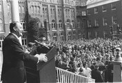 Vice President Hubert Humphrey speaks from the porch of the Old North Building at Georgetown University on Founders' Day