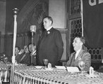 John J. Kehoe, S.J., Faculty Director of Athletics at Georgetown University, speaks at the New York Alumni Society Athletic Dinner, 1941