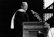Former U.S. President Gerald Ford speaks in Gaston Hall at Georgetown University after receiving an honorary degree