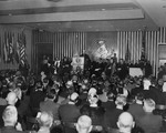U.S. President Dwight D. Eisenhower speaking at the dedication of the Edmund A. Walsh Memorial Building at Georgetown University