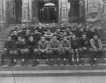 Georgetown  football team on the steps of Healy Hall
