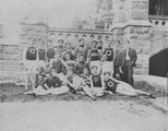 Track team outside Healy Hall at Georgetown University