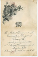 Cover for Invitation, N.D., 1884 to Georgetown Medical Department commencement and card to graduate Dudley Morgan, to William (Georgetown)