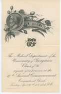 Cover for Invitation, N.D. 1886, to Georgetown Medical Department commencement and card of graduate Louis A. Kengla, to William