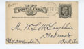 Cover for Postcard, 9/22/1882, to William (Deadwood) from A.C. Wright (Washington, DC)