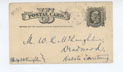 Cover for Postcard, 10/9/1882, to William (Deadwood) from A.C. Wright (Washington, DC)