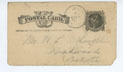 Cover for Postcard, 11/25/1884, to William (Deadwood) from A.C. Wright (Marlow, GA)