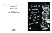 Cover for Testing in American Schools: Asking the Right Questions