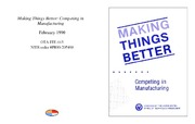 Cover for Making Things Better: Competing in Manufacturing