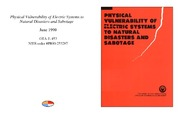 Cover for Physical Vulnerability of Electric Systems to Natural Disasters and Sabotage