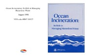Cover for Ocean Incineration: Its Role in Managing Hazardous Waste