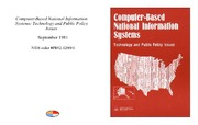 Cover for Computer-Based National Information Systems: Technology and Public Policy Issues