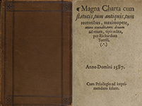 Cover and title page from a published version of Magna Charta