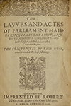 Title page from Laws and Acts of Parliament